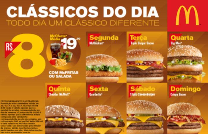 Clássicos do Dia McDonald's – Sanduíches por R$8 cada