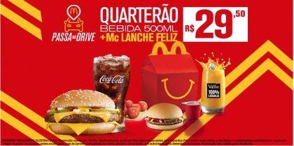 Drive-Thru: Quarterão + Bebida 500ml + McLanche Feliz R$29,50