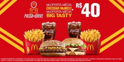 McOferta Média Cheddar McMelt + McOferta Média Big Tasty R$ 40