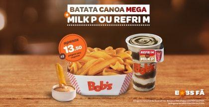 Batata Canoa Mega + Milk Shake P ou Refrigerante M por R$13,50