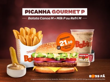 Picanha Gourmet P + Batata Canoa M + Milk Shake P ou Refrigerante M por R$21,50