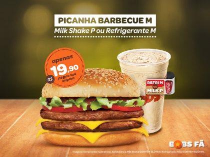 Picanha Barbecue M + Milk Shake P ou Refrigerante M por R$19,90