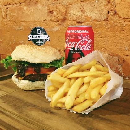 Burger de Lombo Suíno + Refrigerante + Batata 130g por apenas R$ 25,00