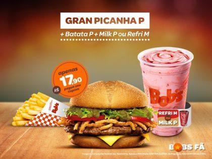 Gran Picanha P + Batata P + Milk Shake P ou Refrigerante M por R$17,90
