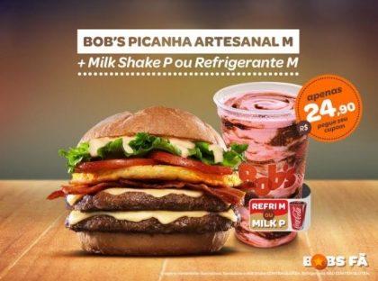 Bob's Picanha Artesanal M + Milk Shake P ou Refri M por R$24,90