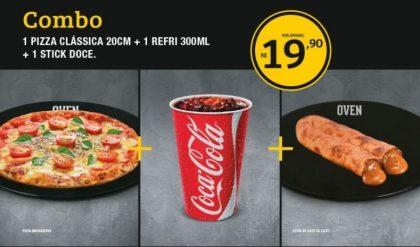 Pizza Clássica 20cm + Refrigerante 300ml + Stick de Doce de Leite por R$19,90