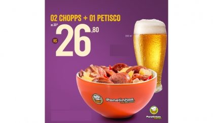 Compre dois Chopps + um Petisco por R$26,80! [18+]