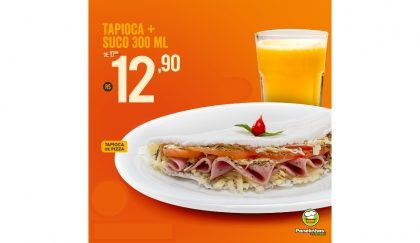 Tapioca de Pizza + Suco de 300 ML por R$12,90