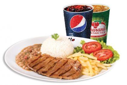 Top Center: Contra-filé + Arroz + Feijão + Salada + Fritas ou Purê + Refri por R$18,90!