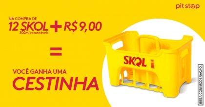 Na compra de 12 Skol 300ml + R$ 9, você ganha uma cestinha* [+18]