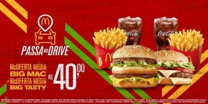 Drive-Thru: McOferta Média Big Mac + McOferta Média Big Tasty R$40