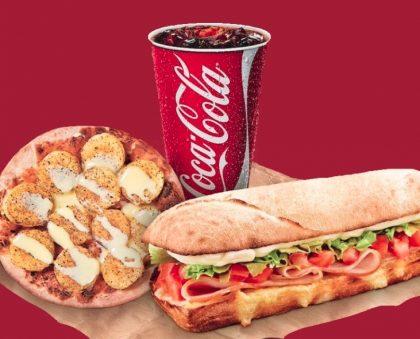 (Center 3) Panini do Dia + Refrigerante 300ml (máquina) + Mini Pizza Doce ou Mini Salada por R$16,90