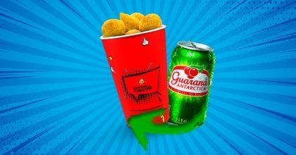 Copo P com 15 Coxinhas ou Salgados Variados + Refrigerante (lata) por R$9,59!