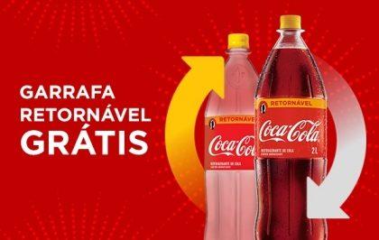 Na compra de uma Coca-Cola Retornável 2L, você paga apenas o líquido. A garrafa sai GRÁTIS!*