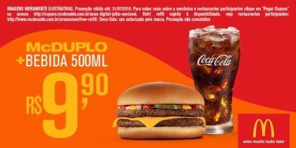 McDuplo + Bebida 500ml R$9,90