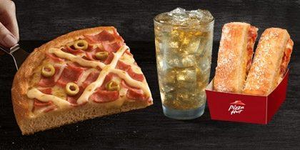 Combo Brasileira: Pizza Superfatia / Individual + Refri 300ml + Acompanhamento ou Sobremesa por R$19,90