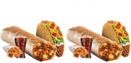 2 Cheesy Burritos (Beef, Frango ou Steak) + 2 Tacos Supreme + 2 Nachos ou Fries + 2 Refris 500ml por R$39,99