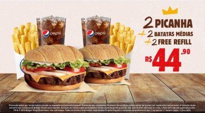 2 Picanha + 2 Batatas Médias + 2 Free Refill por R$ 44,90