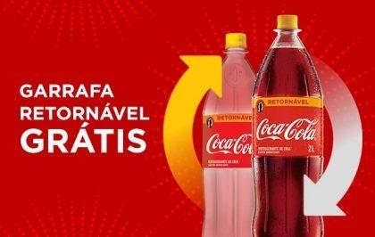 Na compra de uma Coca-Cola Retornável 2L, você paga apenas o líquido. A garrafa sai GRÁTIS