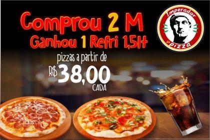 Balcão ou Delivery: Compre 2 Pizzas Médias e Ganhe 1 Refrigerante 1,5l