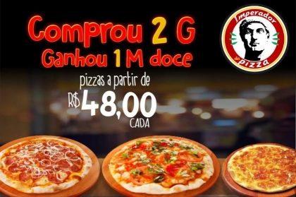 Balcão ou Delivery: Compre 2 Pizzas Grandes e Ganhe 1 Pizza Doce Média