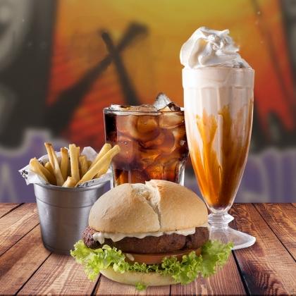 Combo Vegetariano: Lanche Kl Jay + Batata Individual + Refrigerante + Milk Shake por R$40,70!
