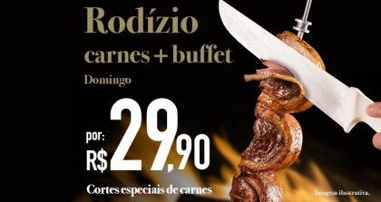 Bela Vista: Rodízio de Carnes + Buffet por R$ 29,90 no jantar de domingo