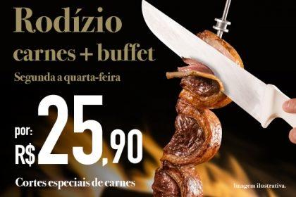 Rudge Ramos: Rodízio de Carnes + Buffet por R$ 25,90 no jantar de segunda a quarta