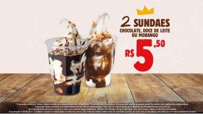2 Sundaes (Chocolate, Doce de Leite ou Morango) por R$ 5,50