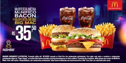 Drive-Thru: McOferta Média McNífico Bacon + McOferta Média Big Mac R$35,50