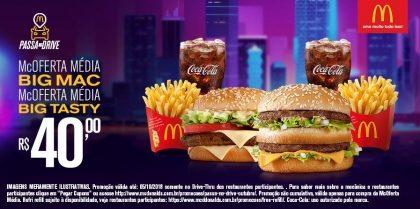 Drive-Thru: McOferta Média Big Mac + McOferta Média Big Tasty R$40,00