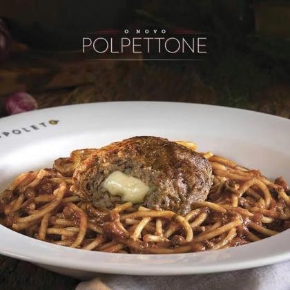 Spaghetti + Polpetone + Bebida por apenas R$24,50!