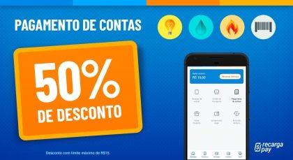 Cupom de 50% OFF (até R$15) em Pagamento de Contas para novos usuários RecargaPay!