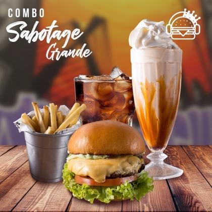 Lanche ao Sabotage + Batata Individual + Refrigerante + Milk Shake por apenas R$ 40,70!