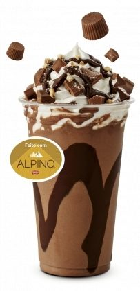Milk-Shake 300ml (Alpino, Morango ou Chocolate com Flocos Maltados) por R$ 6,90