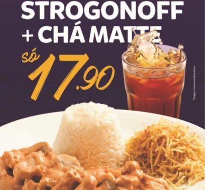 Strogonoff de Frango + Arroz + Batata Palha + Chá Matte por apenas R$ 17,90!