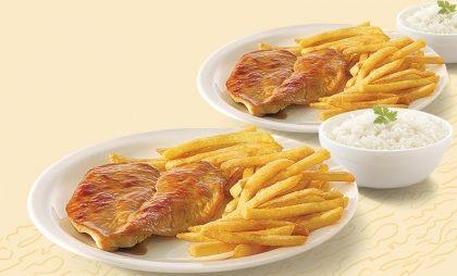 Dois pratos de Filé de Frango grelhado com Arroz e Fritas por apenas R$ 15,90!
