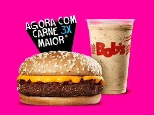 Bob's Mega Cheddar + Milk Shake P ou refil de refri por apenas R$ 13,90!