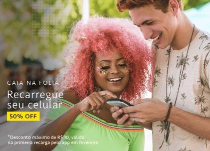 Caia na Folia! Recarga de Celular com 50% OFF pelo app do Mercado Livre!