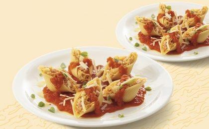 Dois pratos de Conchiglione de Frango e Presunto ao Sugo por apenas R$ 16,90!