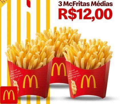 3 McFritas Médias por apenas R$ 12,00!