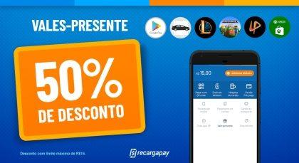 Cupom de 50% OFF (até R$15) em Vale-Presente para novos usuários RecargaPay!