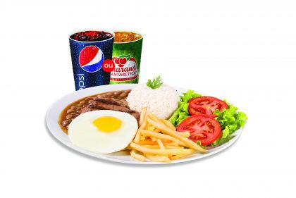 Bife a Cavalo + Arroz  + Feijão  + Fritas ou Purê + Salada + Refrigerante por R$ 20,90!