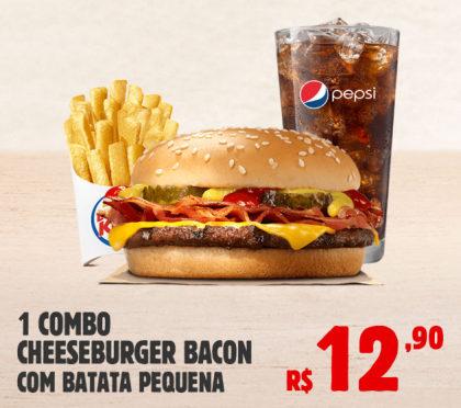 Combo Cheeseburger Bacon com Batata Pequena por apenas R$ 12,90!