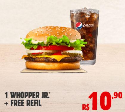 1 WHOPPER JR + FREE REFILL por R$ 10,90