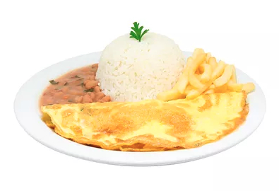 Omelete + Arroz  + Feijão  + Fritas ou Purê + Refrigerante por R$ 13,90!
