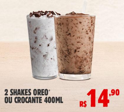 2 Shakes Oreo ou Crocante por apenas R$ 14,90!