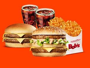 Big Bob M + Cheeseburger M + 2 Batatas M + 2 Refrigerantes (Refil) por apenas R$ 26,00!