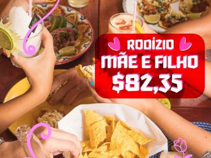 Para Mãe e Filho: Rodízio Exclusivo de Dia das Mães por apenas R$ 82,35! (PARA 2 PESSOAS)