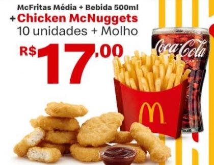 McFritas Média + Bebida + Chicken McNuggets (10 unid) + Molho por apenas R$ 17,00!